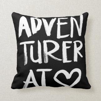 Adventurer At Heart | White Brush Script Style Cushion