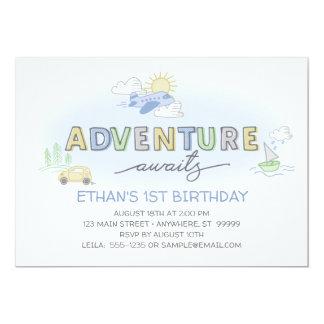 Adventures Awaits Photo Birthday Invitation
