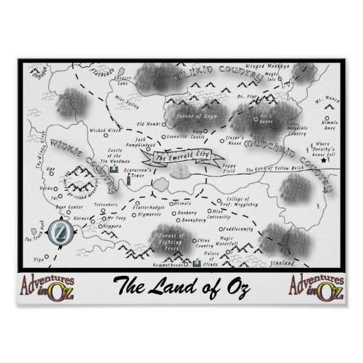 Adventures in Oz Map Poster