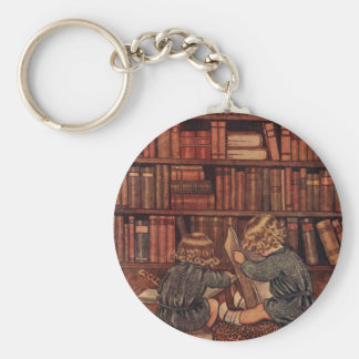 Adventures in the Library Basic Round Button Key Ring
