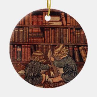 Adventures in the Library Round Ceramic Decoration