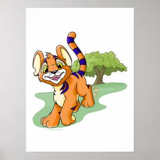 Adventurous orange Kougra on Mystery Island Poster