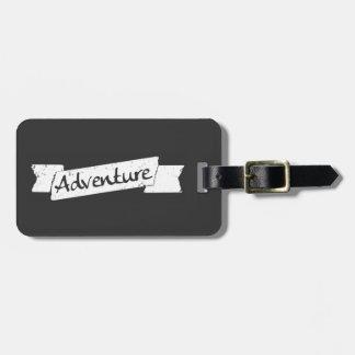 Adventurous Traveler - Grunge Style Banner on Gray Luggage Tag