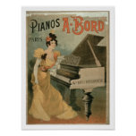 Advertisement for 'A. Bord Pianos, Paris' (colour Poster