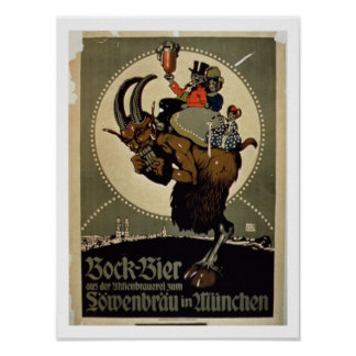 Advertisement for 'Bock Beer from Lowenbrau Brewer Poster