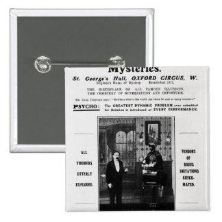 Advertisement for Maskelyne & Devant's Mysteries 15 Cm Square Badge
