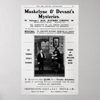 Advertisement for Maskelyne & Devant's Mysteries Poster
