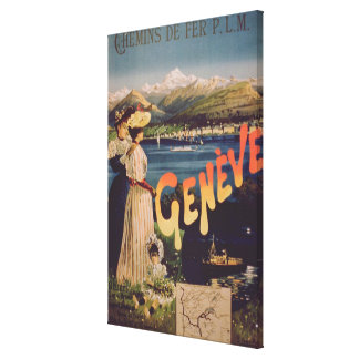 Advertisement for 'P.L.M. Railways to Geneva' (col Canvas Print