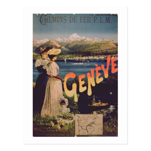 Advertisement for 'P.L.M. Railways to Geneva' (col Post Cards