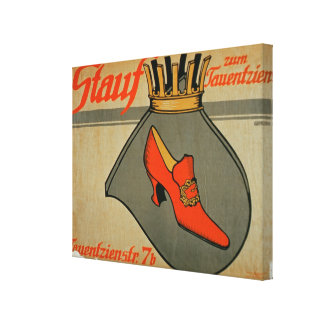 Advertisement for 'Stauf Shoes' (colour litho) Canvas Print