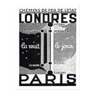 Advertisement,  Rail poster London to Paris Postcard