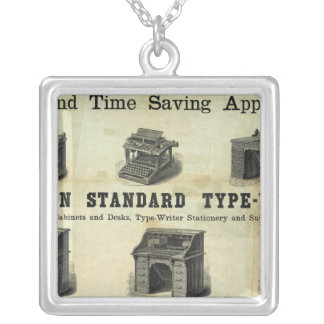 Advertisement with Guide Map Silver Plated Necklace