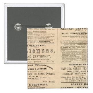 Advertisements for twelve companies, 15 cm square badge