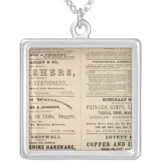 Advertisements for twelve companies, silver plated necklace