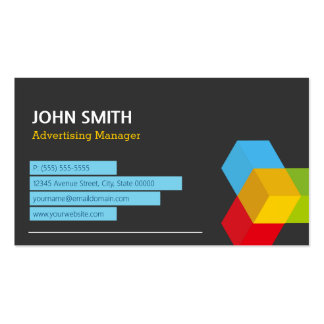 Advertising Manager - Abstract Cube Logo Pack Of Standard Business Cards