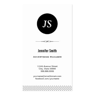 Advertising Manager - Clean Black White Business Cards
