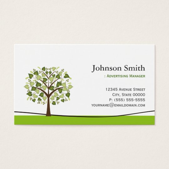 Advertising Manager - Elegant Wish Tree Business Card
