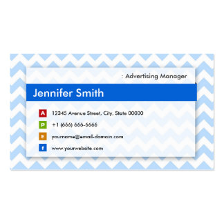Advertising Manager - Modern Blue Chevron Business Card