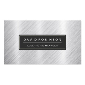 Advertising Manager - Modern Brushed Metal Look Pack Of Standard Business Cards