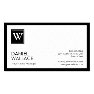 Advertising Manager - Modern Grid Monogram Pack Of Standard Business Cards