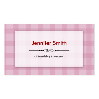 Advertising Manager - Pretty Pink Squares Business Card Template