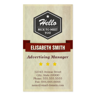Advertising Manager - Retro Grunge Style Pack Of Standard Business Cards