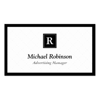 Advertising Manager - Simple Elegant Monogram Pack Of Standard Business Cards