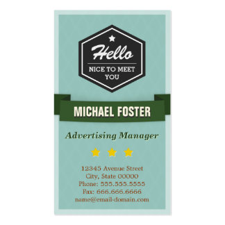 Advertising Manager - Vintage Style Hello Pack Of Standard Business Cards