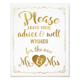 advice and well wishes party wedding sign gold