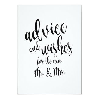 Advice and Wishes Affordable Wedding Sign Card
