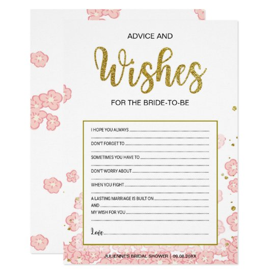 Advice and Wishes Card for Bridal Shower