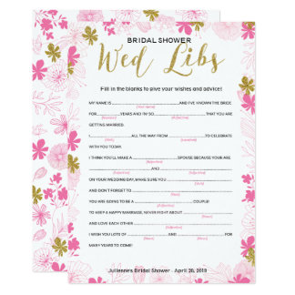 Advice and wishes for the bride shower game card