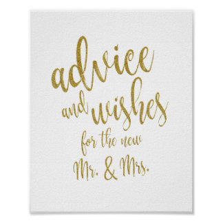 Advice and Wishes Gold Glitter 8x10 Wedding Sign