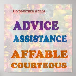 ADVICE Assistance Affable Courteous WISDOM PAIRS Poster