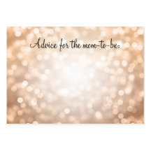 Advice Card Baby Shower Copper Glitter Lights
