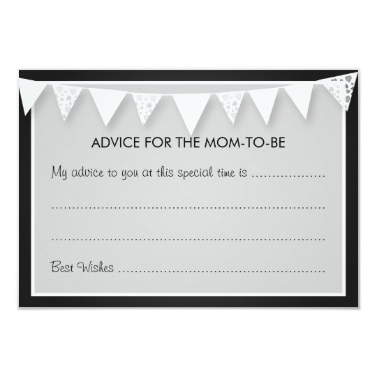 Advice Card Baby Shower Love Bunting Black