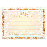 Advice Card Baby Shower Winter Sparkle Orange Personalised Announcement