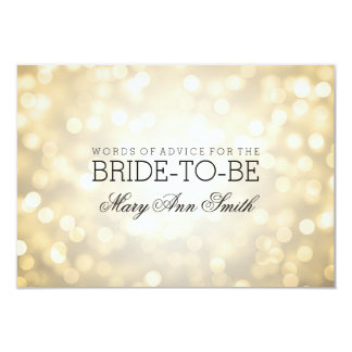 Advice Card Bridal Shower Gold Glitter Lights
