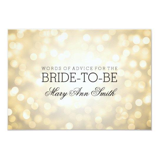 Advice Card Bridal Shower Gold Glitter Lights