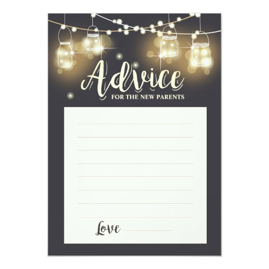 Advice card New parents Baby shower Game Rustic