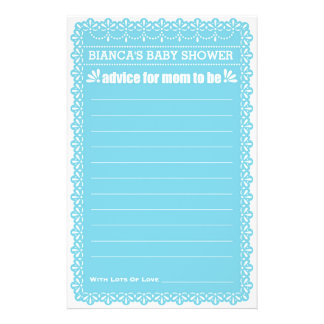 Advice for Mom To Be Blue Papel Picado Baby Shower 14 Cm X 21.5 Cm Flyer