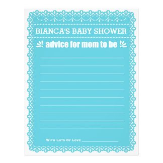 Advice for Mom To Be Blue Papel Picado Baby Shower 21.5 Cm X 28 Cm Flyer