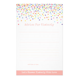 Advice for Mom To Be Confetti Baby Shower Game 14 Cm X 21.5 Cm Flyer