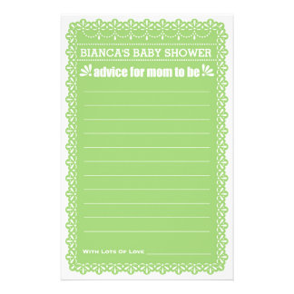 Advice for Mom To Be Green Papel Picado Shower 14 Cm X 21.5 Cm Flyer