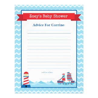 Advice for Mom To Be Nautical Theme Baby Shower 21.5 Cm X 28 Cm Flyer