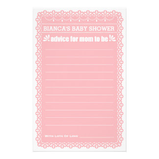 Advice for Mom To Be Pink Papel Picado Baby Shower 14 Cm X 21.5 Cm Flyer