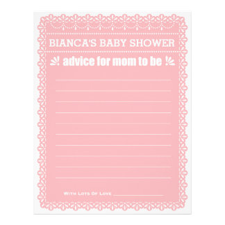 Advice for Mom To Be Pink Papel Picado Baby Shower 21.5 Cm X 28 Cm Flyer