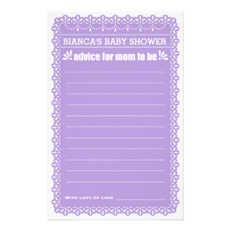 Advice for Mom To Be Purple Papel Picado Shower 14 Cm X 21.5 Cm Flyer