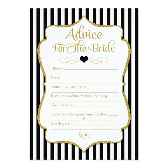Advice For The Bride Black Gold Bridal Shower Game