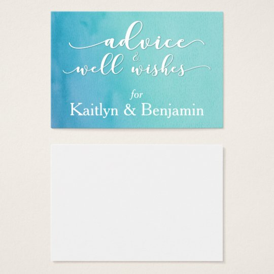 Advice for the Bride & Groom, Teal/Blue Watercolor